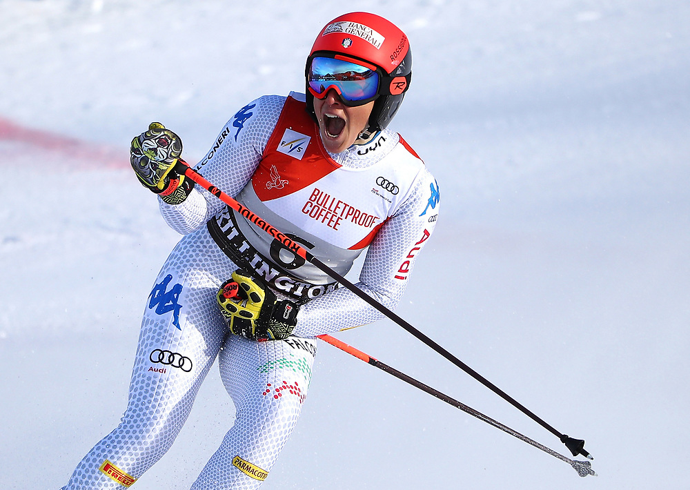 KILLINGTON, VERMONT - NOVEMBER 24: Federica Brignone of Italy reacts after winning the Giant Slalom at the Audi FIS Ski World Cup on November 24, 2018 in Killington, Vermont. (Photo by Gregory Shamus/Getty Images)