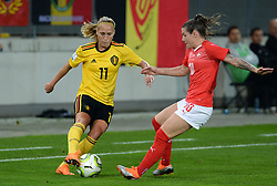 October 9, 2018 - Biel, SWITZERLAND - Belgium's Janice Cayman and Switzerland's forward Ramona Bachmann pictured in action during a soccer game between Switzerland and Belgium's national team the Red Flames, Tuesday 09 October 2018, in Biel, Switzerland, the return leg of the play-offs qualification games for the women's 2019 World Cup. BELGA PHOTO DAVID CATRY (Credit Image: © David Catry/Belga via ZUMA Press)
