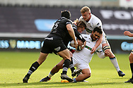 Lelia Masaga of Glasgow Warriors is tackled by Jeff Hassler of the Ospreys . Guinness Pro14 rugby match, Ospreys v Glasgow Warriors Rugby at the Liberty Stadium in Swansea, South Wales on Sunday 26th November 2017. <br /> pic by Andrew Orchard, Andrew Orchard sports photography.