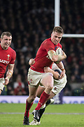 Twickenham, Surrey. UK.  Gareth ANSCOMBE, tackled by Jamie GEORGE, during the Six Nations Rugby Match, England vs Wales RFU Stadium, Twickenham. Surrey, England. on Saturday 10.02.18<br /> <br /> <br /> [Mandatory Credit Peter SPURRIER/Intersport Images]