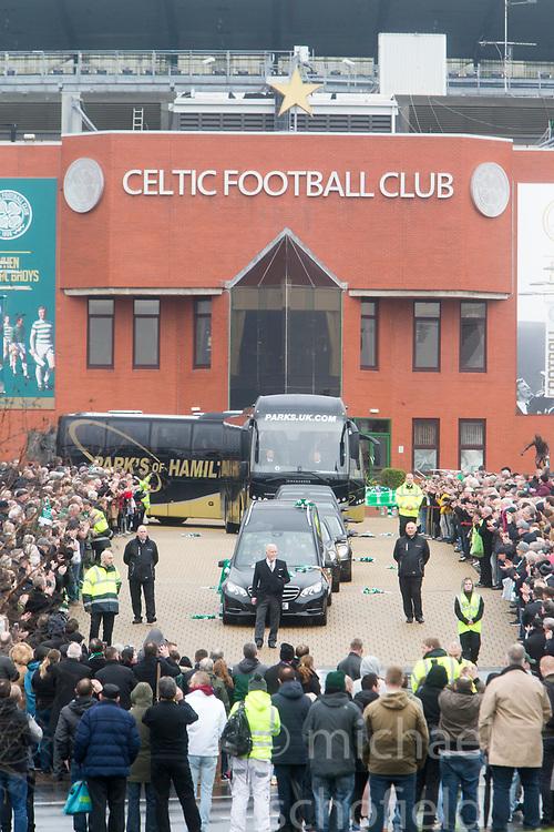 The funeral cortege leaving Celtic ParkThe funeral of former footballer Tommy Gemmell.