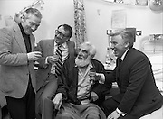 Noel Purcell Celebrates His 81st Birthday.23.12.1981..12.23.1981..23rd December 1981.. Noel Purcell celebrates his 81st birthday in the Adelaide Hospital..Having a drop of the hard stuff with friends, Gay Byrne,Hal Roache and Joe Lynch.