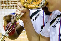 Ana Miriam Do Espirito Ferreira De Sousa of Krim and Andrea Lekic of Krim drinking  at last 10th Round handball match of Slovenian Women National Championships between RK Krim Mercator and RK Olimpija, on May 15, 2010, in Galjevica, Ljubljana, Slovenia. Olimpija defeated Krim 39-36, but Krim became Slovenian National Champion. (Photo by Vid Ponikvar / Sportida)