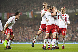 November 14, 2017 - Dublin, Ireland - Danish players celebrate after Andreas Christensen goal during the FIFA World Cup 2018 Play-Off match between Republic of Ireland and Denmark at Aviva Stadium in Dublin, Ireland on November 14, 2017 Denmark defeats Ireland 5:1. (Credit Image: © Andrew Surma/NurPhoto via ZUMA Press)
