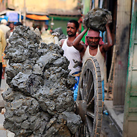 Asia, India, Calcutta. A cart of fresh clay the potter's village of Kumartuli in Calcutta.