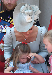 Prince George attends Trooping the Colour 2018 at Buckingham Palace, London, UK, on the 9th June 2018. 08 Jun 2018 Pictured: The Duchess of Cambridge comforts Princess Charlotte after she falls at Trooping the Colour 2018 at Buckingham Palace, London, UK, on the 9th June 2018. Photo credit: James Whatling / MEGA TheMegaAgency.com +1 888 505 6342