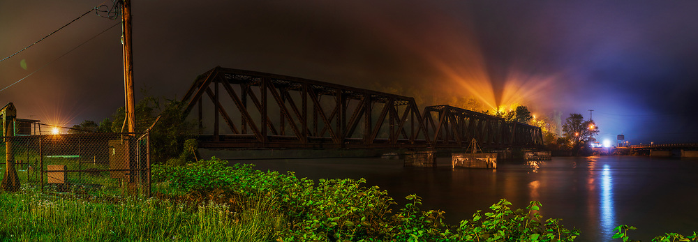 Misty night over the Gauley River, taken in the town of Gauley Bridge, West Virginia.