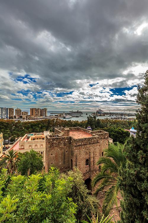 Torre del Cristo in the Alcazaba of Málaga in Malaga, Spain. The Alcazaba of Málaga is the best-preserved Moorish fortress-palace in Malaga, Spain. La Alcazaba and Castillo de Gibralfaro are two Moorish fortresses in the city.