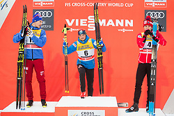 January 6, 2018 - Val Di Fiemme, ITALY - 180106 Andrey Larkov of Russia, Aleksej Poltoranin of Kazakhstan and Alex Harvey of Canada after the men's 15km mass start classic technique during Tour de Ski on January 6, 2018 in Val di Fiemme..Photo: Jon Olav Nesvold / BILDBYRÃ…N / kod JE / 160123 (Credit Image: © Jon Olav Nesvold/Bildbyran via ZUMA Wire)