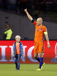 (L-R)  Kai Robben, Arjen Robben of Holland, during the FIFA World Cup 2018 qualifying match between The Netherlands and Sweden at the Amsterdam Arena on October 10, 2017 in Amsterdam, The Netherlands