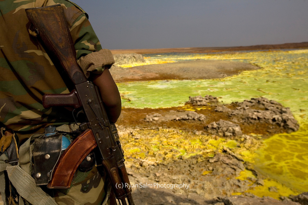 An Ethiopian Army scout watches over our saftey at Dallol