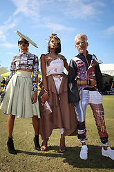 07062018 (Durban) Thasheral Chetty, Lorna Armoogam and judarne Naidoo arriving in style the adrenaline of Vodacom Durban July flowing like water among the massive crowd expected at Greyville Racecourse in Durban for the running of the R4.25 million, Grade 1, Vodacom Durban July, the greatest racing, fashion and entertainment extravaganza on the African continent.<br /> Picture: Motshwari Mofokeng/African News Agency/ANA