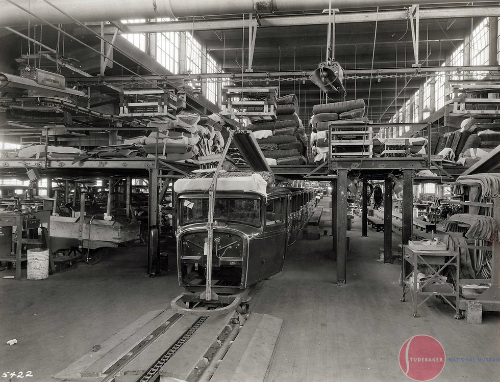 1929 Studebaker body assembly line. A 1929 Studebaker sedan receives its interior.