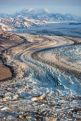 Aerial view of the Lowell Glacier, Kluane National Park, Yukon