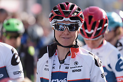 Stephanie Pohl on the start line at the Women's Ronde van Vlaanderen 2017. A 153 km road race on April 2nd 2017, starting and finishing in Oudenaarde, Belgium. (Photo by Sean Robinson/Velofocus)