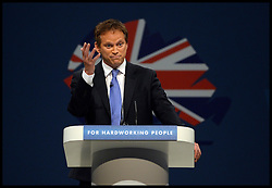 Conservative Party Chairman Grant Shapps delivering his speech on day one of the Conservative Party Conference in Manchester, United Kingdom. Sunday, 29th September 2013. Picture by Andrew Parsons / i-Images