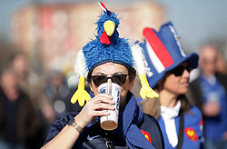 A France fan in a hat during the Guinness Six Nations match at the Stade De France, Paris.
