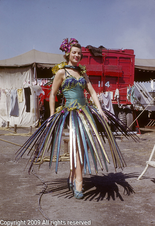 """Barnum Bailey Circus performer Dolores Murphy who has the stage name """"Luawana"""" poses for a portrait  behind the scenes June 16, 1951 in Plainville, Conn."""