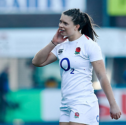 Abbie Scott of England<br /> <br /> Photographer Simon King/Replay Images<br /> <br /> Six Nations Round 3 - Wales Women v England Women - Sunday 24th February 2019 - Cardiff Arms Park - Cardiff<br /> <br /> World Copyright © Replay Images . All rights reserved. info@replayimages.co.uk - http://replayimages.co.uk