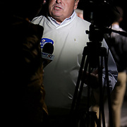 Carolina Beach Mayor Bob Lewis gives an interview at the Carolina Beach Recreation Center. (Jason A. Frizzelle)