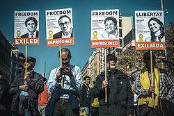 April 15, 2018 - Barcelona, Catalonia, Spain - Catalan separatists with their placards  shout slogans during a demonstration for the release of jailed pro-independence politicians (Credit Image: © Matthias Oesterle via ZUMA Wire)