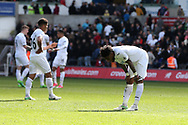 Leroy Fer of Swansea city ® is dejected at the end of the game.  Premier league match, Swansea city v Middlesbrough at the Liberty Stadium in Swansea, South Wales on Sunday 2nd April 2017.<br /> pic by Andrew Orchard, Andrew Orchard sports photography.