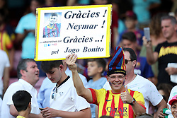 August 7, 2017 - Barcelona, Spain - A Supporter of FC Barcelona holds a placard reading ''Thank You Neymar for beautiful game'' during the 2017 Joan Gamper Trophy football match between FC Barcelona and Chapecoense on August 7, 2017 at Camp Nou stadium in Barcelona, Spain. (Credit Image: © Manuel Blondeau via ZUMA Wire)