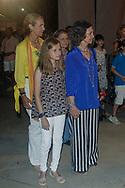 Queen Sofia, Princess Elena, princess Leonor and Princess Irene of Greece attend Ara Malikian concert at Port Adriano in Palma de Mallorca, Spain on 1st of August of 2018.