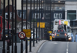 The van used in the attack is loaded inside a lorry on the north side of London Bridge following last night's terrorist incident.