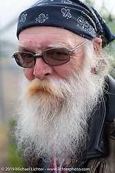 Support crew member Bill Penrose on the Motorcycle Cannonball coast to coast vintage run. Stage 13 (254 miles) Kalispell, MT to Spokane, WA. Friday September 21, 2018. Photography ©2018 Michael Lichter.