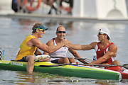Shunyi, CHINA.  Saturdays  Men's Kayak single [K1] 500m, final, left,  AUS Ken WALLACE, is congratulated by centre, GBR K1 Tim BRABANTS and right, Adam van KOEVERDEN  at the 2008 Olympic Canoe/Flatwater Racing, Shunyi Rowing-Canoeing Course. Saturday - 23/08/2008,  [Mandatory Credit: Peter SPURRIER, Intersport Images]