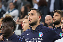 June 4, 2018 - Turin, Piedmont, Italy - Gianluigi Donnarumma (Italy) sings the Italian national anthem before the friendly football match between Italy and Holland at Allianz Stadium on June 04, 2018 in Turin, Italy. Final result: 1-1  (Credit Image: © Massimiliano Ferraro/NurPhoto via ZUMA Press)