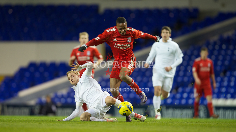 LONDON, ENGLAND - Wednesday, February 1, 2012: Liverpool's Raheem Sterling in action against Tottenham Hotspur's Alex Pritchard during the NextGen Series Quarter-Final match at White Hart Lane. (Pic by David Rawcliffe/Propaganda)