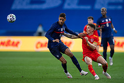 NICE, FRANCE - Wednesday, June 2, 2021: Wales' Harry Wilson (R) and France's Raphaël Varane during an international friendly match between France and Wales at the Stade Allianz Riviera ahead of the UEFA Euro 2020 tournament. (Pic by Simone Arveda/Propaganda)