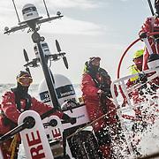 Leg 3, Cape Town to Melbourne, day 03, Sophie Ciszek, Xabi Fernandez, Willy Altadill on board MAPFRE. Photo by Jen Edney/Volvo Ocean Race. 14 December, 2017.