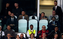 Juventus' Cristiano Ronaldo (second left) watches from the stands with Georgina Rodríguez (left)