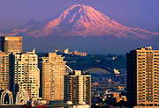 Seattle residential buildiings and Mt Rainier