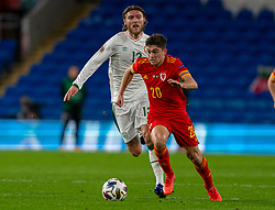 CARDIFF, WALES - Sunday, November 15, 2020: Wales' Daniel James (R) gets away from Republic of Ireland's Cyrus Christie during the UEFA Nations League Group Stage League B Group 4 match between Wales and Republic of Ireland at the Cardiff City Stadium. Wales won 1-0. (Pic by David Rawcliffe/Propaganda)