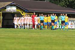 Team ŽNK Pomurje and FC Nike entering the pitch  before football match between ZNK Pomurje and FC Nike in 2nd Round of UWCL qualifying 2019/20, on Avgust 10, 2019 in Sportni Park Beltinci, Beltinci, Slovenia. Photo by Blaž Weindorfer / Sportida