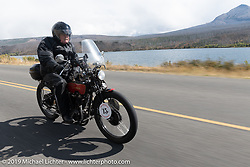 Mike Carson riding his 1928 Harley-Davidson model JDH in the Motorcycle Cannonball coast to coast vintage run. Stage 12 (242 miles) from Great Falls to Kalispell, MT. Thursday September 20, 2018. Photography ©2018 Michael Lichter.