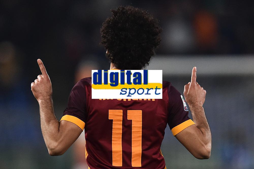 Mohamed Salah Roma celebrates Scoring. Esultanza dopo il gol <br /> Roma 04-03-2016 Stadio Olimpico, Football Calcio Serie A 2015/2016 AS Roma - Fiorentina.  Foto Andrea Staccioli / Insidefoto