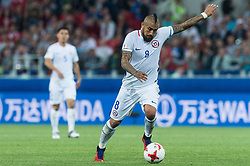 MOSCOW, June 19, 2017  Chile's Arturo Vidal (R) kicks the ball during the 2017 Confederations Cup football Group B match against Cameroon in Moscow, Russia, June 18, 2017. (Credit Image: © Evgeny Sinitsyn/Xinhua via ZUMA Wire)