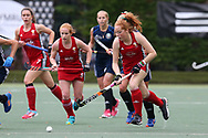 Danni Jordan of Wales in action (r) .Belarus v Wales, EuroHockey 11 Women's championshp 2017 in Cardiff, South Wales , Wednesday 9th August 2017<br /> pic by Andrew Orchard