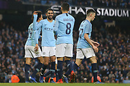 26 Riyad Mahrez for Manchester City celebrates goal No 5 during the The FA Cup 3rd round match between Manchester City and Rotherham United at the Etihad Stadium, Manchester, England on 6 January 2019.