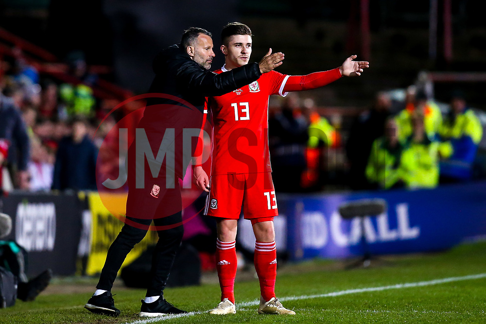 Wales head coach Ryan Giggs talks to Declan John of Wales - Mandatory by-line: Robbie Stephenson/JMP - 20/03/2019 - FOOTBALL - The Racecourse Ground - Wrexham, United Kingdom - Wales v Trinidad and Tobago - International Challenge Match