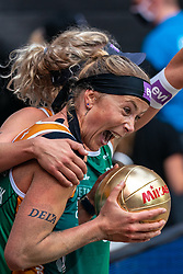 Madelein Meppelink, Sanne Keizer during the third day of the beach volleyball event King of the Court at Jaarbeursplein on September 11, 2020 in Utrecht.