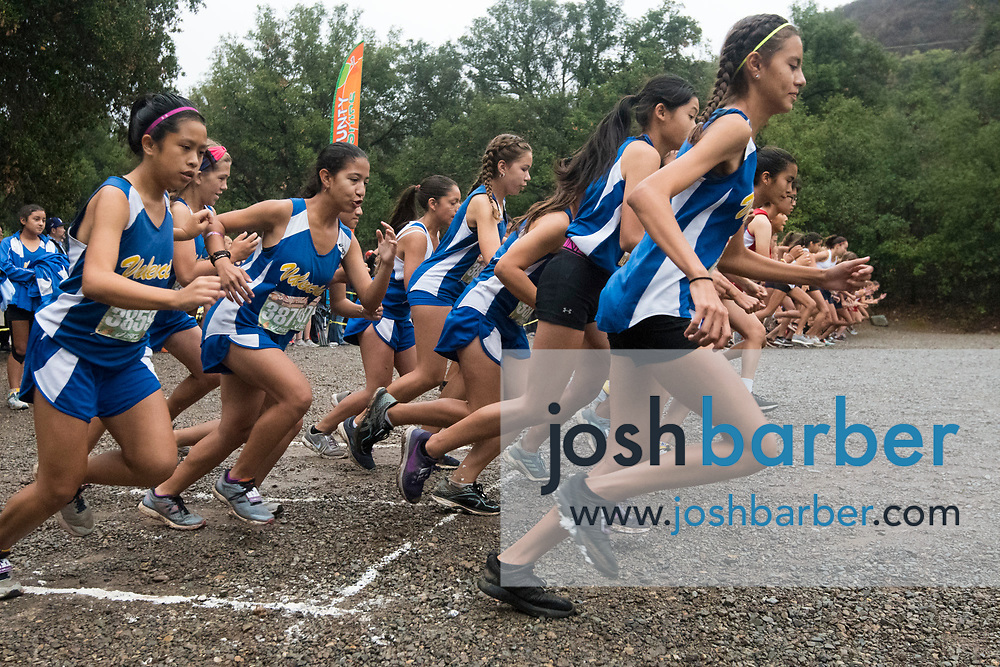 Valencia Cross Country takes off in the Girls Freshmen Large Schools race at the Orange County Cross Country Championships  at Oak Canyon Park on Saturday, October 13, 2018 in the unincorporated community of Silverado, Calif. (Photo by Josh Barber, Contributing Photographer)