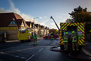 Kent Fire Services tackle a major fire at Morrisons supermarket in Folkestone, Kent. 8th November 2018. The fire started in the cafe chip fryer and spread rapidly through the store. 12 fire engines and two height vehicles attended the fire, it took over 8 hours to bring it under control.