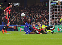 Football - 2017 / 2018 Carabao (EFL/League) Cup - Quarter-Final: Chelsea vs. AFC Bournemouth<br /> <br /> Bournemouth goalkeeper, Artur Boruc saves from Michy Batshuayi of Chelsea, at Stamford Bridge.<br /> <br /> COLORSPORT/ANDREW COWIE