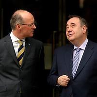 EDINBURGH, UK - 14th May 2010: First Minister for Scotland Alex Salmond and finance secretary for Scotland Alex Swinney wait to greet Prime Minister David Cameron on the steps of St Andrews House in Edinburgh this afternoon...(Photograph: Richard Scott/MAVERICK)
